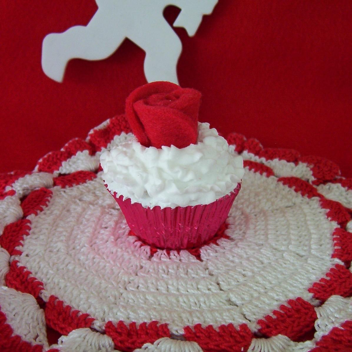 Cupcake Red White fake faux mini