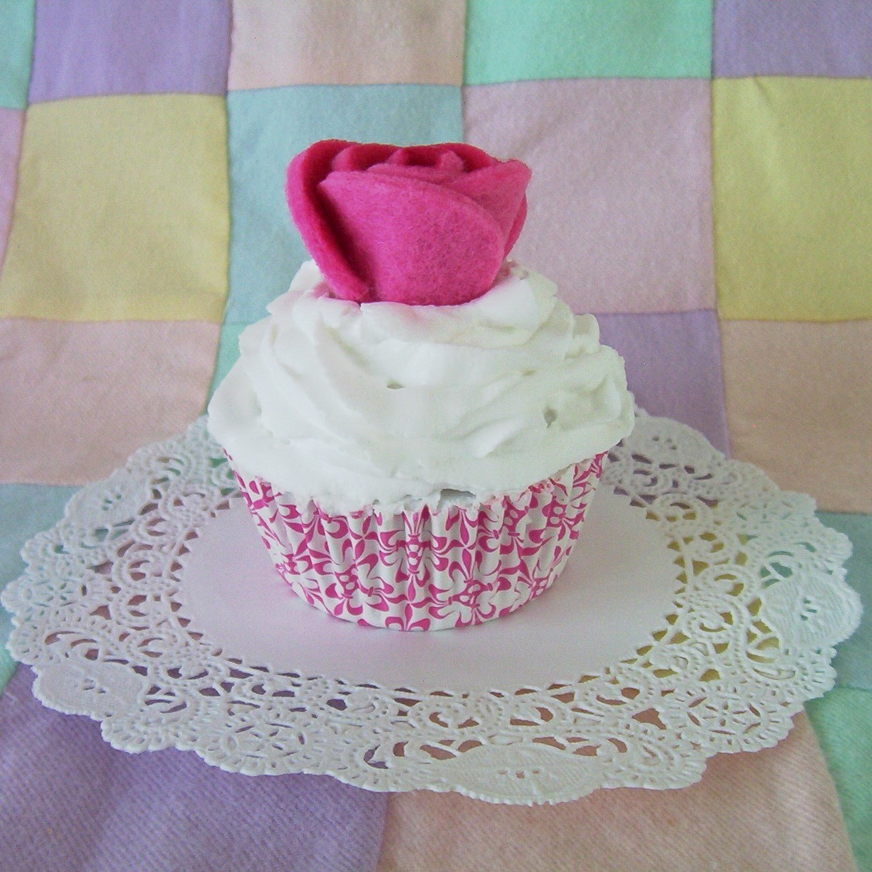 Cupcake large faux fake rose pink