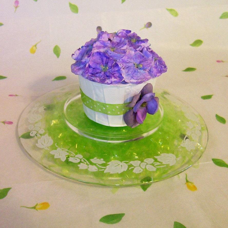 Fake Cupcake Purple Hydrangea Display Faux