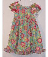 Girls print dress with flowers and ruffles, han... - $18.00
