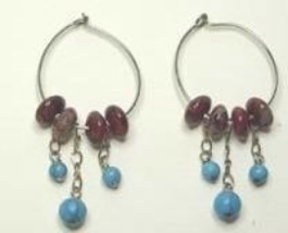 Poppy Jasper, Turquoise & Sterling Chain Sterling Silver Hoop Earrings - $14.99