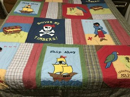 PIRATES Patchwork Quilt Full Size The Company Kids Treasure Chest Ships - $34.60