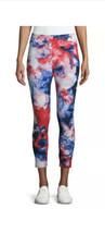 Time & Tru Women's High-Rise Capri Leggings - Tie Dye Red White Blue LAR... - $12.86