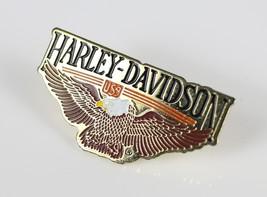 Vintage HARLEY DAVIDSON USA Gold Tone Enamel Lapel Jacket Pin Costume Je... - $8.37