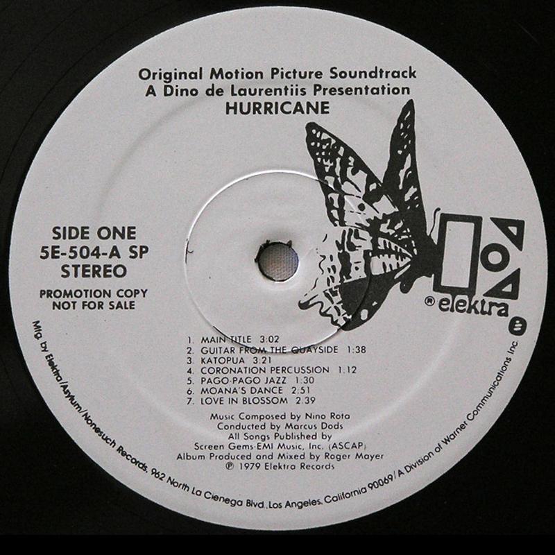 Nino Rota - HURRICANE 1979 Original Soundtrack PROMO LP