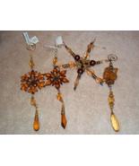 Beaded Amber STARBURST SNOWFLAKE STARFLAKE Ornaments x4 - $15.99