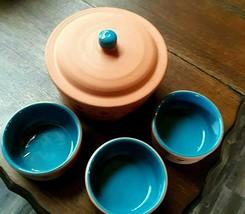 Vintage Himark TERRA COTTA Turquoise South Western Covered Crock Cassero... - $43.37
