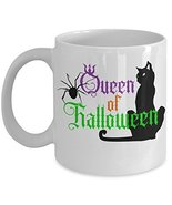 Halloween Queen Of Halloween Coffee Mug Black Cat Spider - $15.99