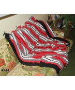 Hand Made Red Black White Gray Afghan  - $30.00