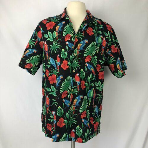 145de992 RJC Hawaiian Shirt Mens XL Parrots Hibiscus Tropical Made In Hawaii