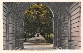 Princeton New Jersey~View Through Brokaw Memorial Arch~1920s Postcard - $4.90