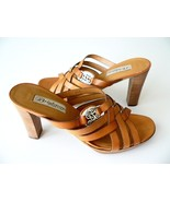 NWT BRIGHTON honey leather 10 slides heels sandals shoes woven designer - $111.55