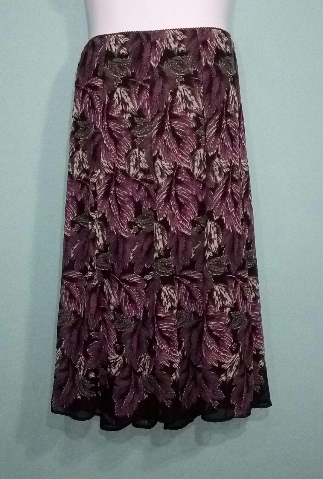 JM Collection  Women's Skirt Sheer Palm Print Size 14