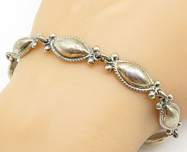 MEXICO 925 Silver - Vintage Pointed Oval Dome Twist Link Chain Bracelet ... - $81.96