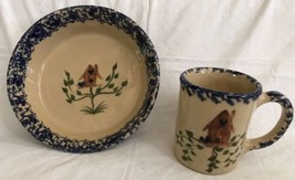 Hand Painted for The Blueberry Patch ALPINE POTTERY OH Mug & Pie Plate B... - $29.69