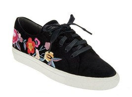 Chic Skechers Black Velvet Colorful Floral Embroidered Sneakers Wm's NEW DISC - $68.99