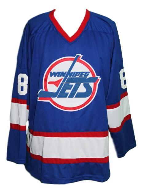 Selanne  8 custom winnipeg jets retro hockey jersey blue   1