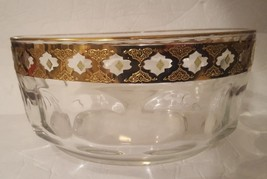 "Culver Serving Bowl Valencia Arcoroc France 8 1/2"" Gold & Green Diamond ... - $27.49"
