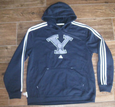 ADIDAS BYU COUGARS BRIGHAM FLEECE HOODED SWEATSHIRT FOOTBALL NCAA L LG N... - $42.03