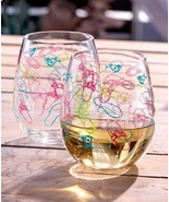 Acrylic Wine Glass Tumblers Set of 2 Summer By the Sea Theme Stemless Wi... - $22.88