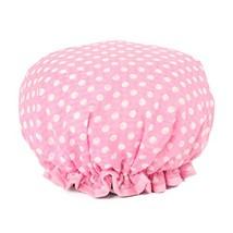 Stylish Design Waterproof Double Layer Shower Cap Spa Bathing Caps, Pink Dot image 2