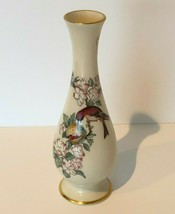 "Lenox Serenade Bud Vase Bird Floral 8.5"" Tall USA 24K Gold Trim Home Decor - $19.99"