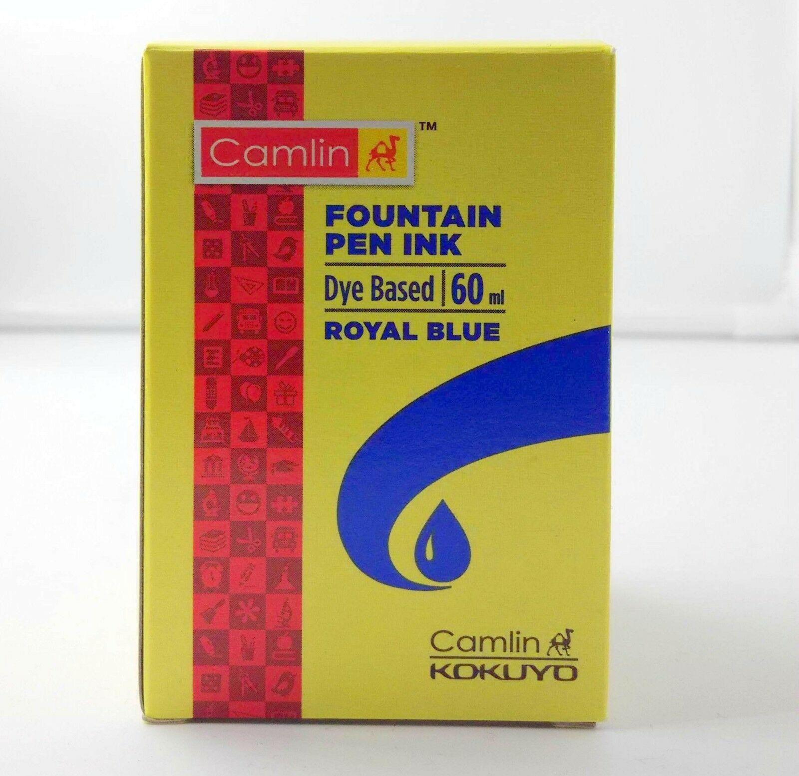 6 Camel Fountain Pen Ink ROYAL BLUE Bottles 60 ml 2 oz Camlin 6 qty New Sealed