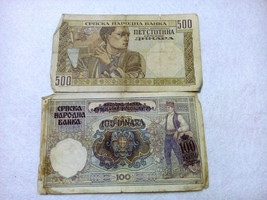 LOT No 29 Second World War 500 and 100 dinara German Occupation Yugoslavia 1941 - $3.00