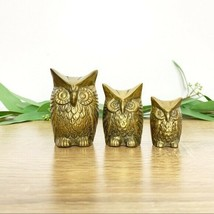 Set of 3 Mid Century Vintage Brass Owl Figurines - $28.06