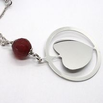925 Silver Necklace, Carnelian Faceted Heart Sloped Pendant image 3