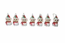 Set of (7) Genuine Bone China Christmas Sheep Figurine Ornament Lot Figure image 1