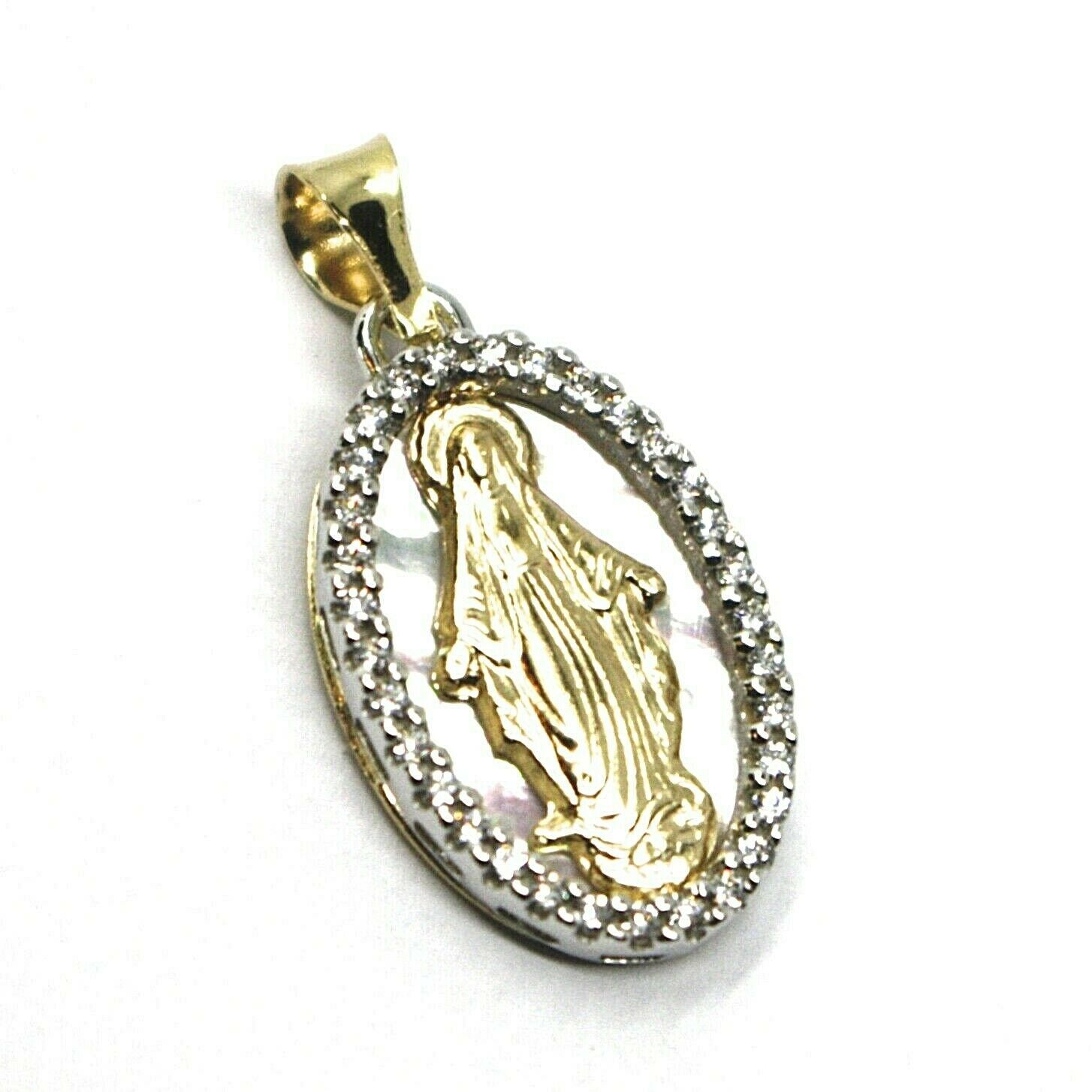 18K YELLOW WHITE GOLD MEDAL, VIRGIN MARY, MIRACULOUS, MOTHER OF PEARL, ZIRCONIA