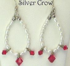 White Rice Pearl & Swarovski Red Crystal Earrings Pierced - $8.99