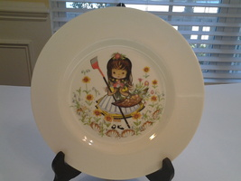 """Pickard China, Plate 8.5"""", Hand Decorated Girl in Garden, Used VG - $5.99"""
