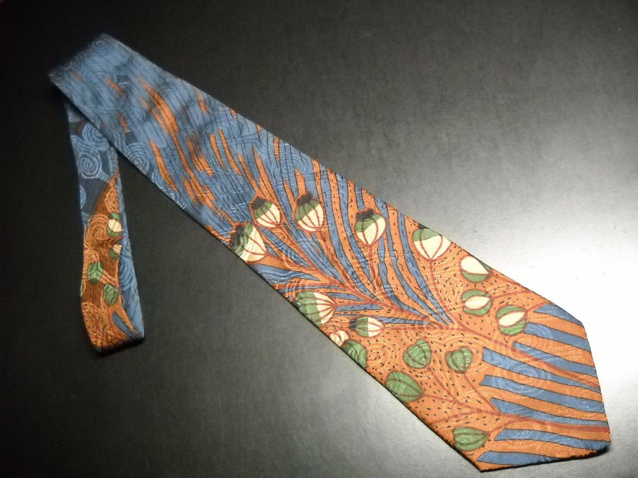 Tie desert designs jimmy pike flower buds on blues and browns 04