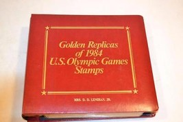 1984 US Olympics 22K Gold Replica First Day Cover Stamp Set w Binder   1... - $50.00