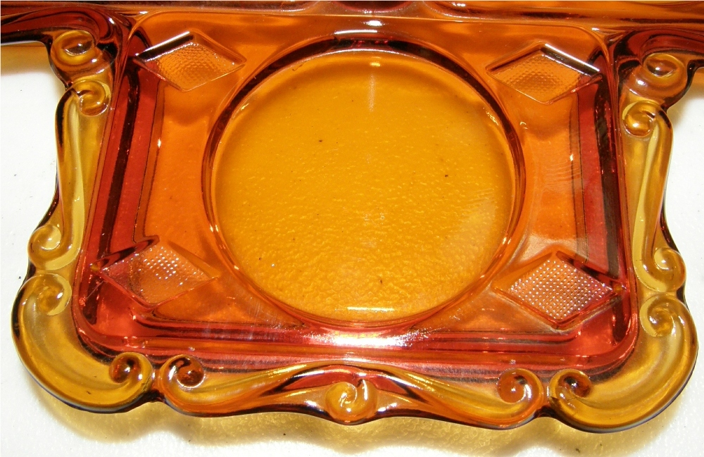 Cambridge Glass Bridge Set Tray in Amber - Vintage