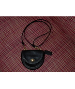 COACH Black Leather Crossbody Flap Bag with Lock Front Vintage NICE - $19.99
