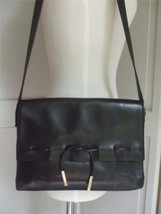 Liz Claiborne Leather Co. Black Real Leather Purse Handbag Shoulder Bag - $29.65