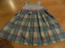 Girls Size 4 Bonnie Jean Aqua & Lilac Purple Plaid Summer Dress White Ey... - $16.00