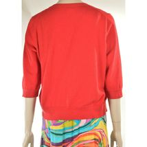 Eileen Fisher sweater M red cardigan 3/4 sleeves organic cotton cashmere blend image 10