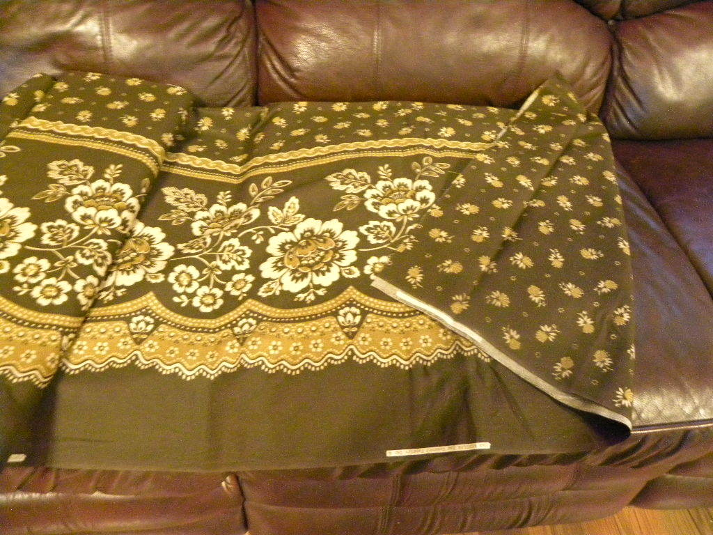 Brown Cottom Fabric With Printed Tan Floral Design