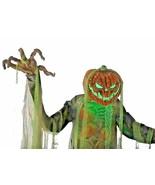 Huge 7-Ft ANIMATED ROOT OF EVIL Pumpkin Head Scarecrow Halloween Prop De... - $293.99