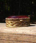 Vintage Ruby Red Jeweled Snuff Box, Pill Box, Basketweave, Faceted Glass - $100.00