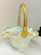Fenton Art Glass Gold Crest White Opalescent Hobnail Basket - $99.00