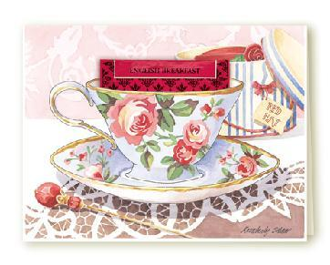 SET of 6 COTTAGE ROSE Tea Cup Blank Greeting Card