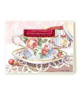 SET of 6 COTTAGE ROSE Tea Cup Blank Greeting Card  - $12.50
