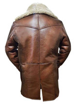 Dark Knight Rises Bane Genuine Leather Shearling Brown Ginger Trench Coat/Jacket image 3