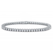 Womens 925 Sterling Silver Rhodium Plated Tennis Bracelet with Black CZ - $9.79