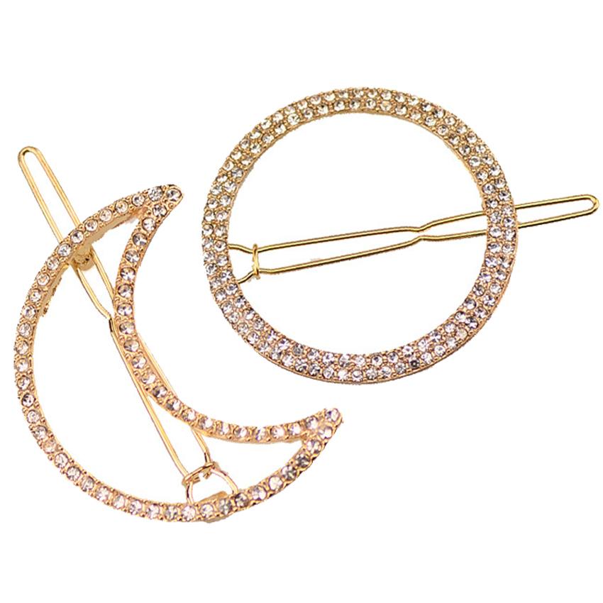 2PCs Moon Round Hair Clip for Women Girl Hair Barrettes Hair Pins with Crystals